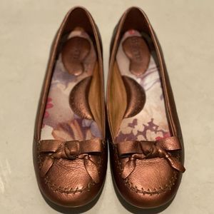 BORN Leather Moccasin Ballet Flat, Copper, Sze 8.5